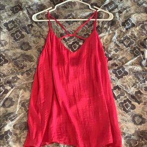 Criss cross chest pink tank L